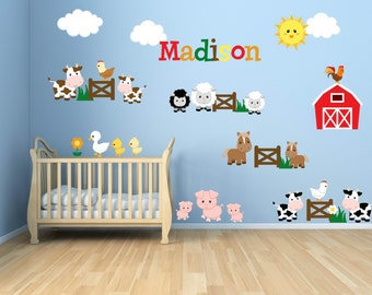 Kids Room Wall Decals - Farm Wall Decals - Farm Animal Decals - Farm Animal Nursery Decor - Farm Theme Kids Room - Personalized Name Decal
