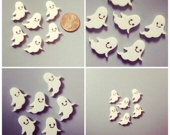 6x laser cut acrylic ghost cabochons