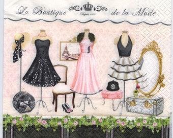 4 Decoupage Napkins   La Boutique de la Mode Paris Fashion Shop   Fashion Napkins   Designer Napkins Paper Napkins for Decoupage