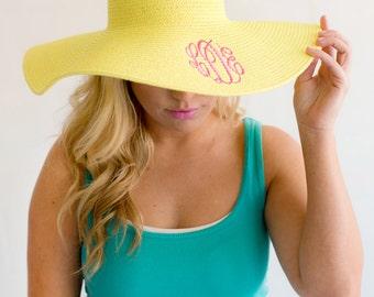 Monogrammed Floppy Hat Beach Hat Derby Hat Personalized Floppy Hat