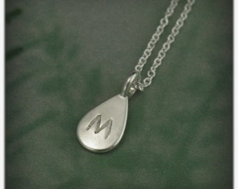 Pear Shaped Initial Pendant--Silver Monogram Pendant--Teardrop Shaped Charm--Personalized Silver Pendant--Hand Stamped Layering Necklace