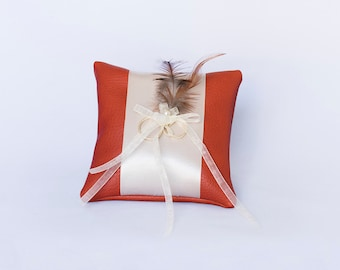 Wedding Pillow Orange with Feathers and Pearls