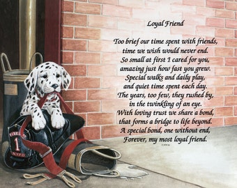Fire Puppy-Dalmation-Loyal Friend Poem-Dogs-Gift for Fireman-Paper Wall Art-Dog Wall Print-Handcrafted