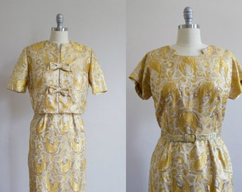 1950's Metallic Gold Wiggle Dress / Matching Jacket / Bolero M/L