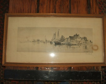 Signed Waterfront Etching by Frederick Leo Hunter 1889