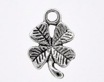 6 Antiqued Silver 4-Leaf Clover Charms