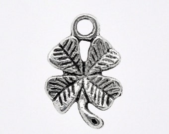 5 Antiqued Silver 4-Leaf Clover Charms