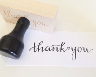 Thank You Stamp / Calligraphy Stamp / Handlettered Stamp / Modern Calligraphy / Wedding Stamp / Thank you / Personlized