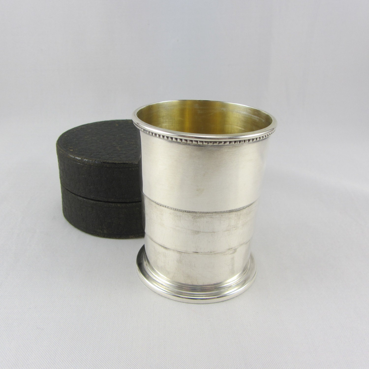 antique sterling silver collapsible travel cup with case