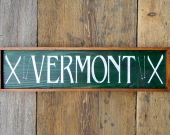 Wood Sign, Outdoor Signs, Vermont Ski Sign, Rustic Cabin, Lake and Lodge, Winter Ski Decor, Christmas Gift
