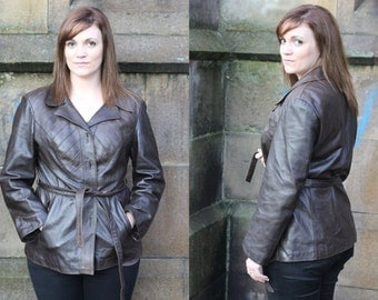 Vintage Leather Jacket 1970s Size 14-16 Smart Chocolate Brown Fitted Panelled Belted Coat Ladies Womens Steampunk Boho Real Genuine Leather