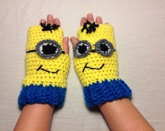 Kids Minion Fingerless Gloves/Wrist Warmers