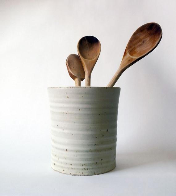 Rustic Kitchen Utensil Holder: White Pottery Utensil Holder. Matte White Pottery Vase. Modern