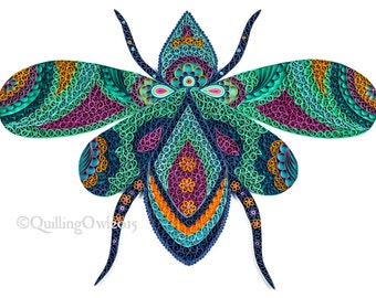 Saray the Queen Fly,Original Paper quilling art, wall art , OOAK , illustration