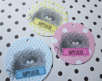 Vintage Birds Nest Happy Easter Gift Tags