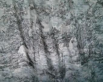 Handmade Window American Cottage landscape print Curtain