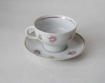 Shabby Vintage Rose Teacup and saucer set  - Home decor - Made in USSR