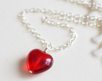 Red Heart Necklace, Sterling Silver Chain, Pendant, Simple, Romantic, Valentines Day Jewelry