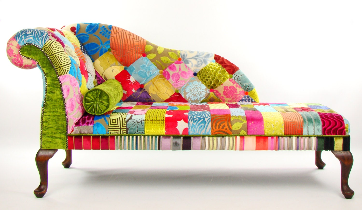 Bespoke patchwork lhf chaise longue designers guild fabric for Chaise longue designer