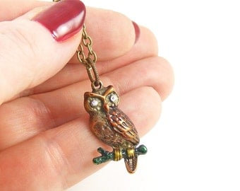 Wise Old Owl Necklace, Hand Painted Owl on a Branch, Nature Lovers Pendant, Bird Jewellery