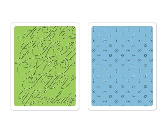 New! Brenda Walton Sizzix Textured Impressions Embossing Folders 2PK - Elegant Script & Petite Floral Set 659627