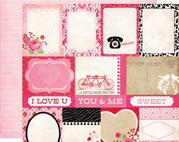 1 Sheet of Echo Park Paper LOVE STORY 12x12 Valentine's Day Scrapbook Paper - Journaling Cards