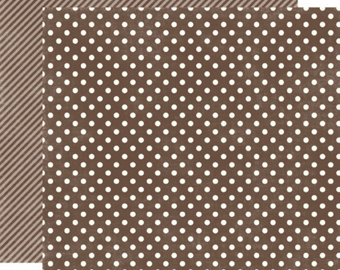 2 Sheets of Echo Park Paper DOTS & STRIPES Homefront 12x12 Scrapbook Paper - Chestnut Small Dots