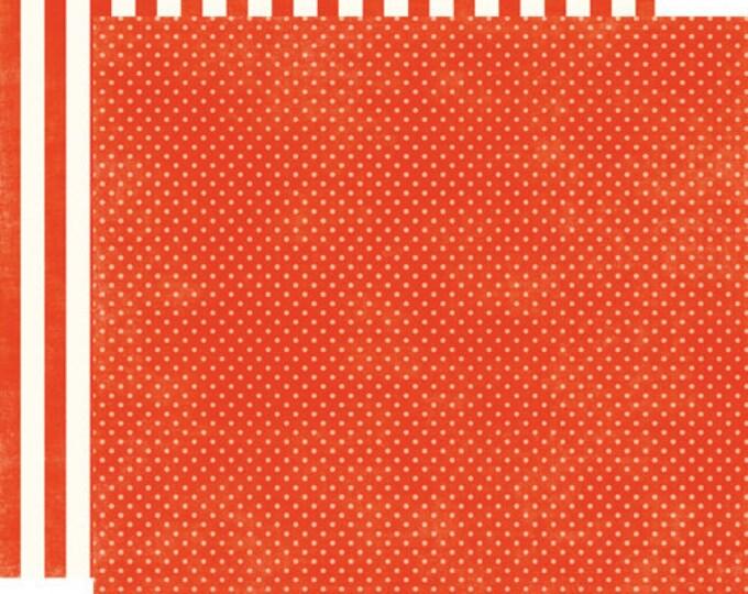 2 Sheets of Echo Park Paper DOTS & STRIPES Homefront 12x12 Scrapbook Paper - Ladybug Tiny Dots