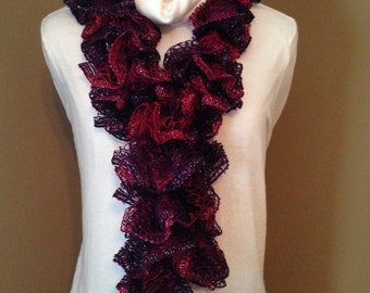Beautiful Red/Burgundy and Purple Ruffled Scarf