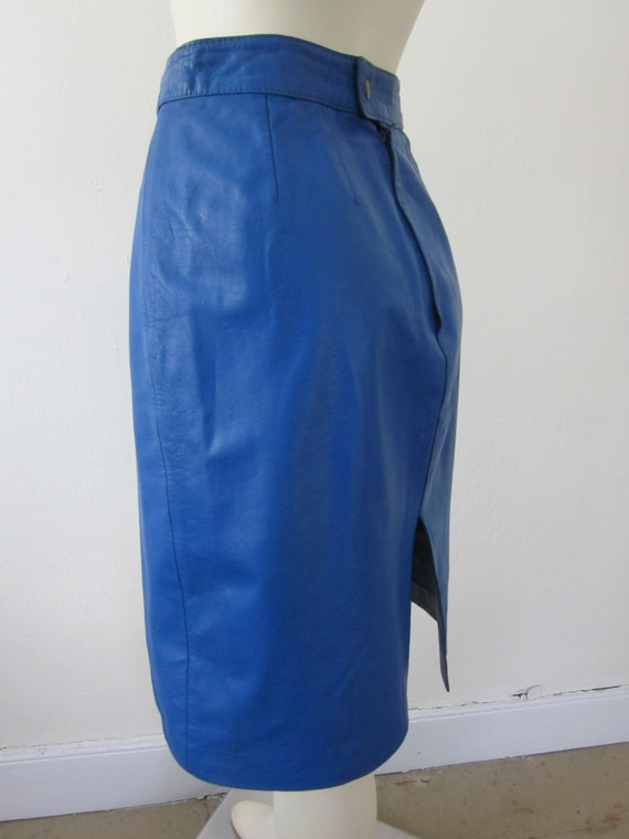 1980s cobalt blue leather pencil skirt made by