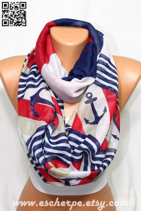 anchor scarf sailor scarf navy white beige nautical