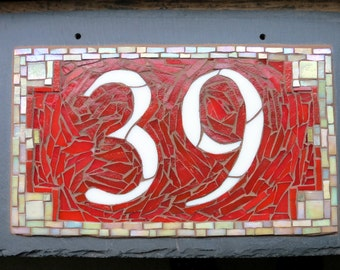 Mosaic House Number on Slate 2 Digit 12x8