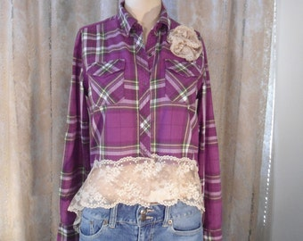 Rustic Flannel Shirt Upcycled Womens Bohemian Fashion Lace Cowgirl Clothes Western Wear Hi Low Hem Hippie Chic Purple Plaid Snap USA OOAK