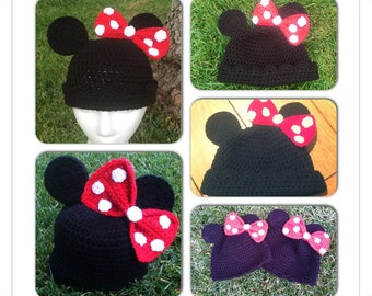Crochet Infant Minnie Mouse Hat Beanie with Bow