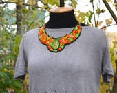 RESERVED*  Green Orange Bead Embroidery Necklace Seed bead Embroidered Necklace Bright Statement Necklace Bold Jewelry Beadwork Necklace
