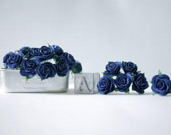 Paper Flower, 50 pieces Mini rose size 2.5 cm., Navy blue color.