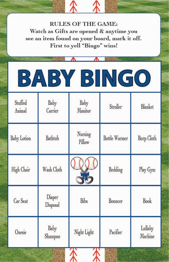baby shower bingo game baseball theme instant digital download set of