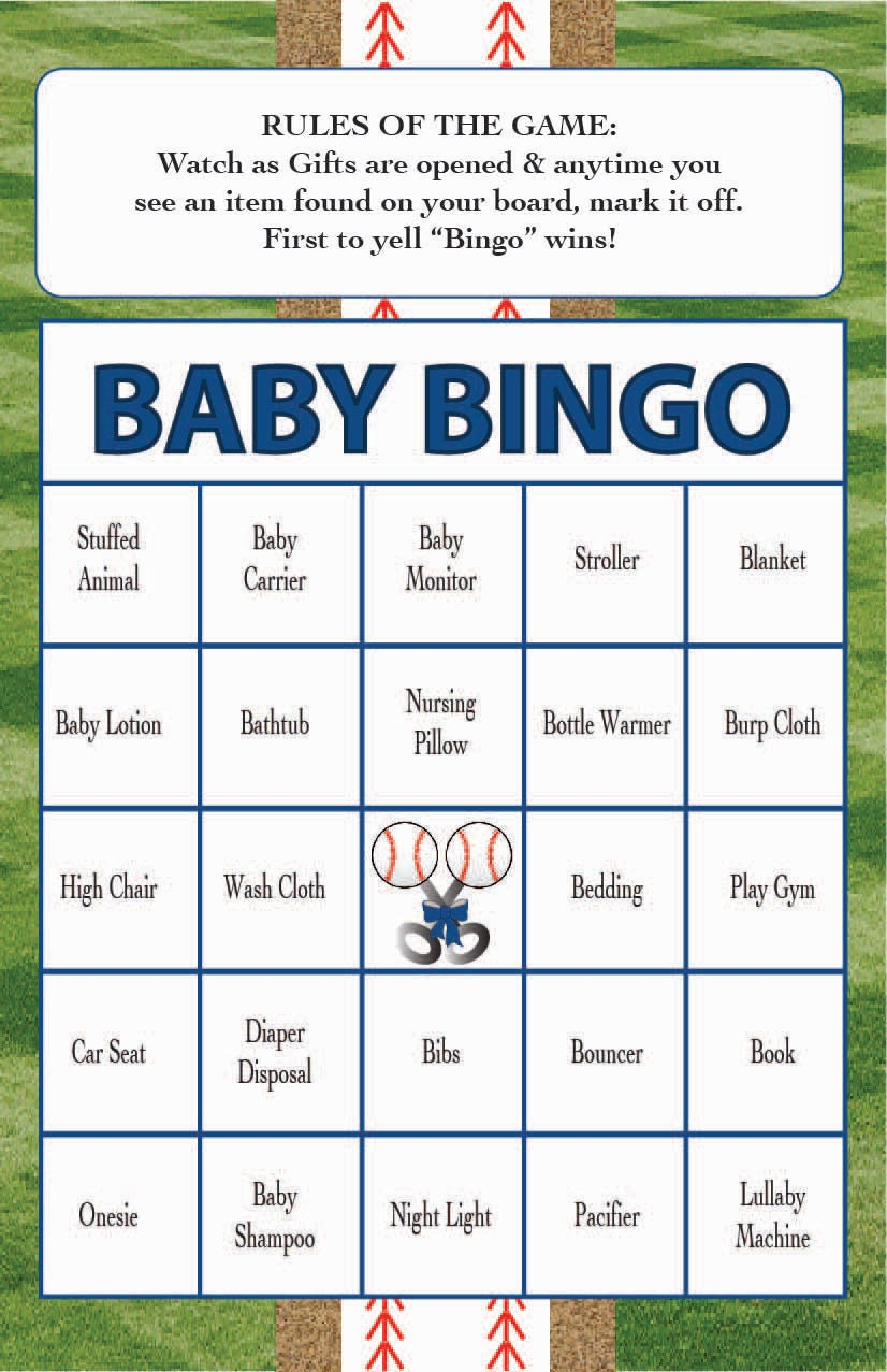 Zany image throughout printable baby shower bingo