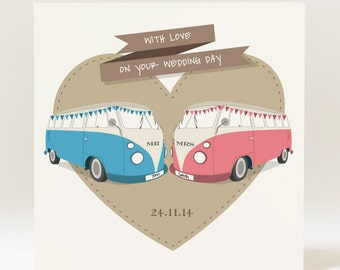 Handmade Personalised Mr & Mrs Campervan  Wedding Card