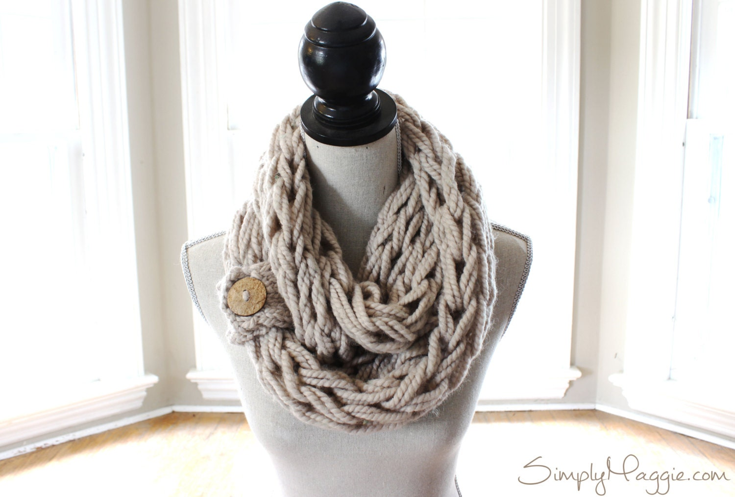 arm knit chunky scarf infinity scarf with button by