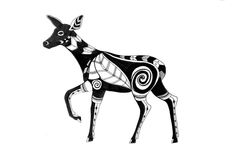 Deer Drawing Pen Amp Ink Original Art 12 X 18 Native By