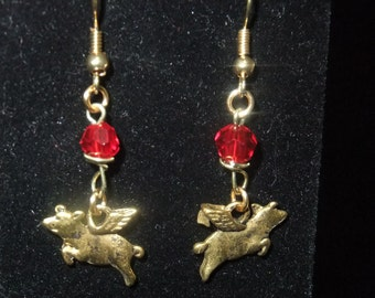 Gold and Red Flying Pig Earrings