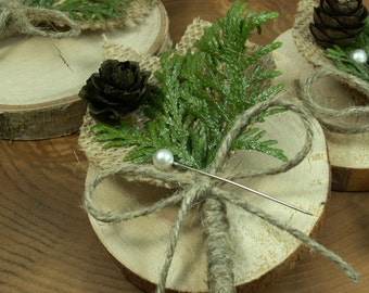 Rustic Boutonniere -  4 Groom and groomsmen boutonniere,  Natural  Boutonniere