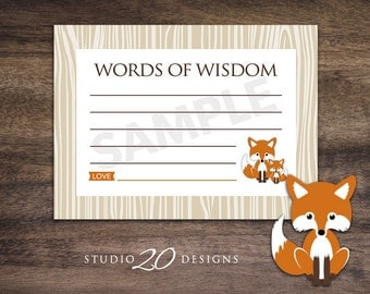 Instant Download Orange Fox Advice Cards, Printable Fox Words of Wisdom, Orange Brown Fox Baby Shower Games, Advice for Mom To Be 65C