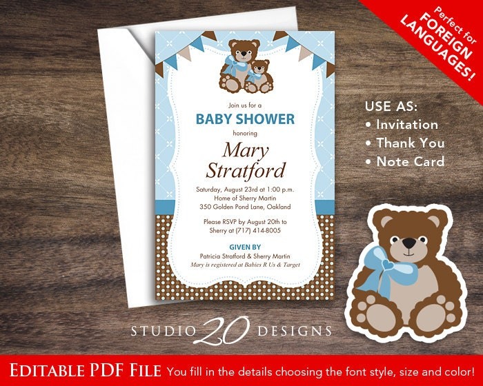 Instant Download Blue Teddy Bear Baby Shower Invitations