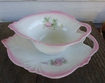 Vintage Flowered Creamer and Plate