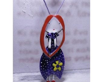 purple little lady,handmade metalwork fairytale pendant