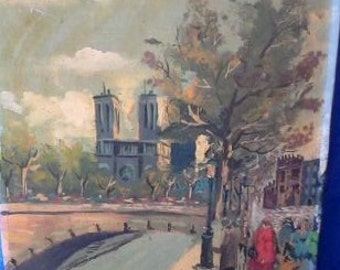 Vintage Signed Original Rocco Oil Painting Street Scene Midcentury Impressionism - Listed Italian Artist REDUCED