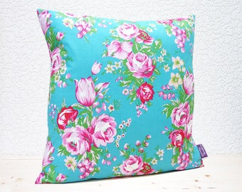 """Handmade 16""""x16"""" Cotton Cushion Pillow Cover in Vibrant Pink/Peacock Blue Floral Design Print"""
