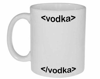HTML Code Vodka Mug - funny white ceramic coffee or tea mug